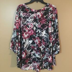 NYDJ Floral Pleated Back Blouse Shirt Black 2XL